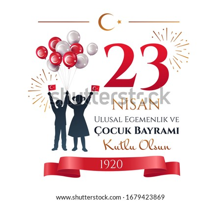 Card or poster design of people celebrating 23 Nisan in Turkey waving flags with fireworks and balloons. Translation: 23 April, National Sovereignty and Children s Day. Vector illustration