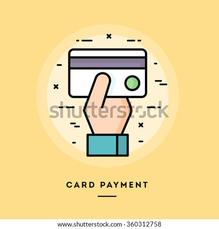 Card payment, flat design thin line banner, usage for e-mail newsletters, web banners, headers, blog posts, print and more