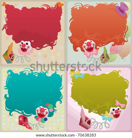 card set - 4 jack in the box jumping out of magic boxes - stock vector