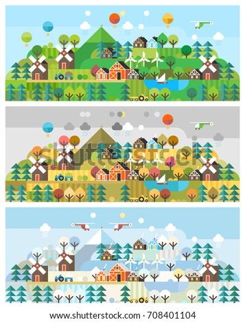 card set rural landscape