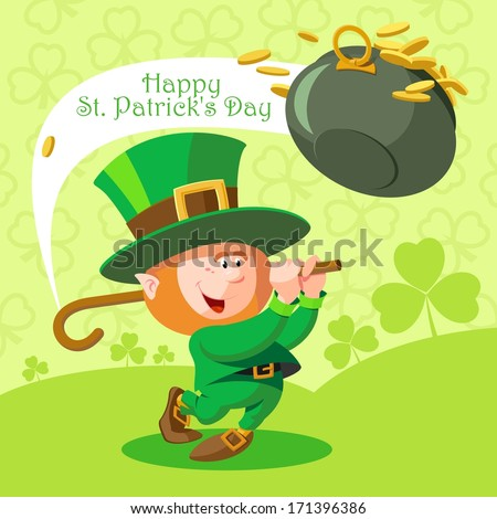Card St Patrick's Day Cute leprechaun playing golf Pot of gold coins