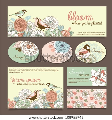 card/ sticker design with floral & birds