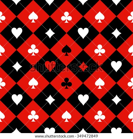 Card Suit Chess Board Red Black White Background Illustration