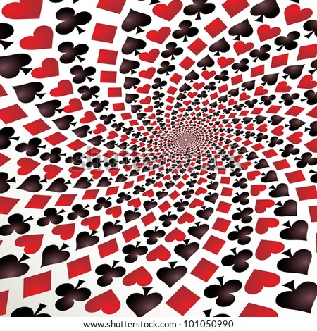 Card suit. Hearts, diamonds, spades and clubs. Playing cards. Op art. Vector illustration.