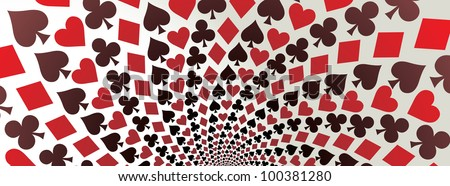 Card suit. Hearts, diamonds, spades and clubs. Playing cards. Op art. Vector illustration. Panorama.