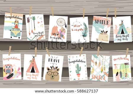 Card template collection for banners,Flyers,Placards with tent,feather,cactus,owl and arrow in boho style