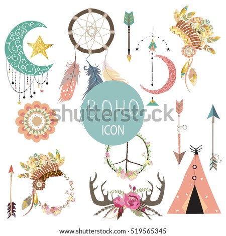 Card template collection for icon,Flyers,Placards with wreath,feather,flower,tent,wild,girl and arrow in boho style