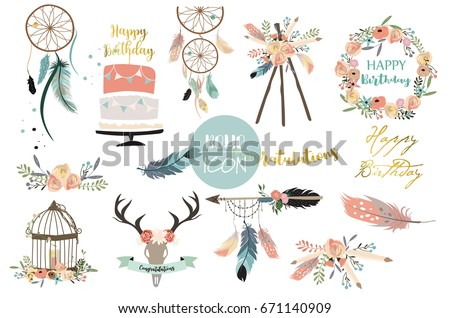 Card template collection for icon,Flyers,Placards with wreath,feather,flower,wild,cake and arrow in boho style