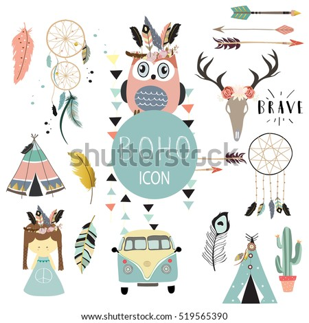 Card template collection for icon,Flyers,Placards with wreath,feather,owl,tent,wild,girl and arrow in boho style