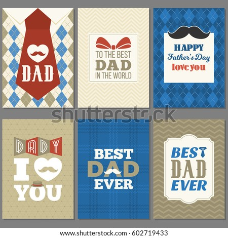 Card template for father's day, flat design