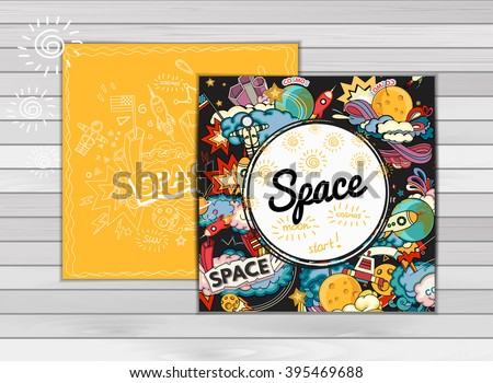 card template of space. Moon, planet, rocket, earth, cosmonaut, comet, universe. Classification, milky way. Hand drawn. Design abstract vector illustration - Shutterstock ID 395469688