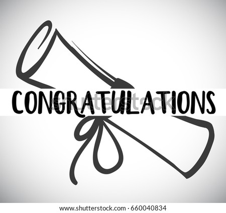 Card template with congratulations word and degree illustration