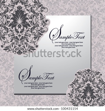 Card template with flower design, vector
