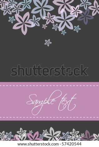 Card template with flower design, vector - stock vector