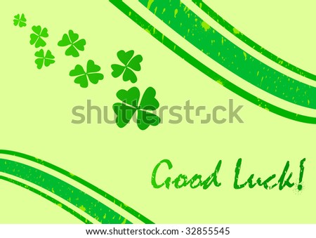 Card template with luck wish; clip-art