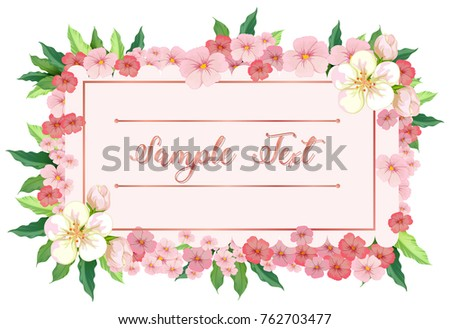 Card template with pink flowers around border illustration