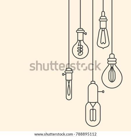 Card template with retro stylized linear electric bulbs on beige background