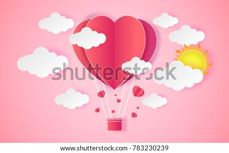 Card Valentine's day balloon heart love Invitation on vector abstract background