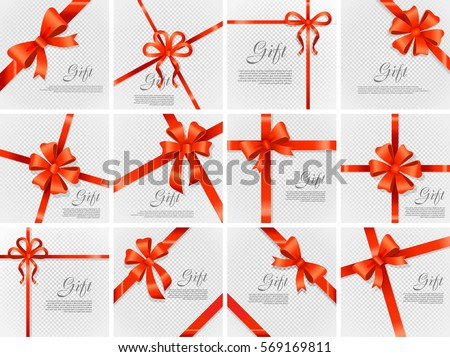 Card vector illustration on transparent background, luxury wide gift bow with red knot or ribbon and space frame for text, gift wrapping template for banner, poster design. Simple cartoon style Flat