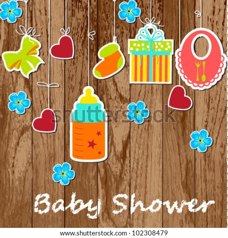 Card with a baby elements on wooden background. Vector illustration. - stock vector