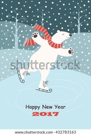 card with a polar bear skating