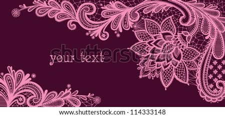 Card with a white lace. Floral Background. Vector greeting card. Wedding invitation. Black lace vector design. Old lace background, ornamental flowers. Floral background.