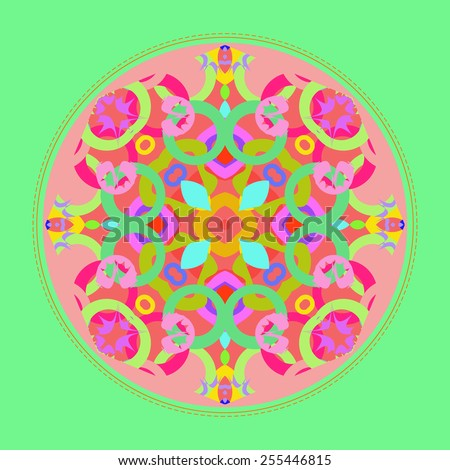 Card with abstract circular pattern, light green frame, star    on a   light pink   background. Handmade.