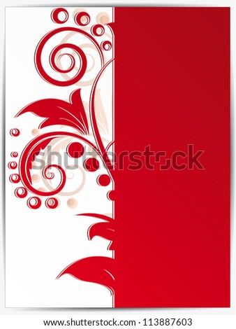Card with abstract ornamental background with floral elements and swirls