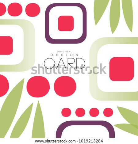 Card with asian pattern, sushi and leaves, original design, decorative element colorful vector illustration