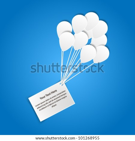 Card with balloons - paper cut design