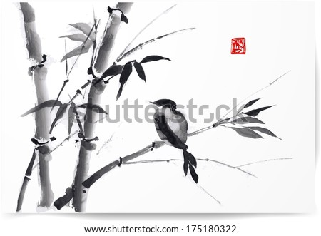 card with bamboo and bird on