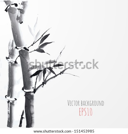 card with bamboo on white