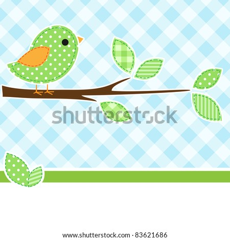 Card with bird on branch with textile background.
