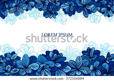 card with blue flowers wedding