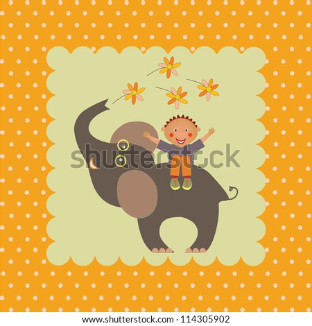 card with boy on elephant - stock vector