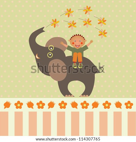 card with boy on elephant with flowers