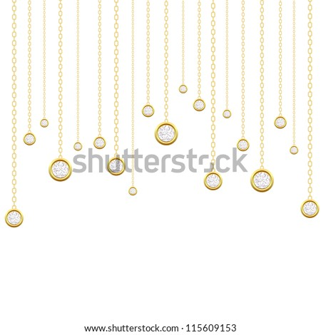 Card with brilliants on a white background. Vector illustration
