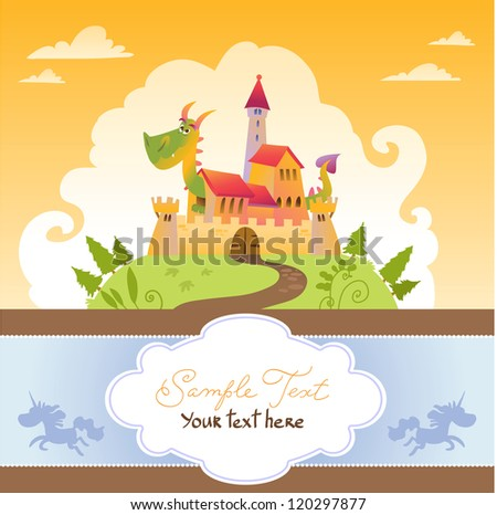 card with cartoon dragon in