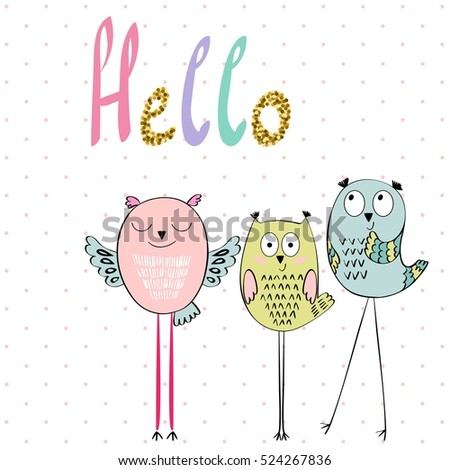 card with cartoon owls in