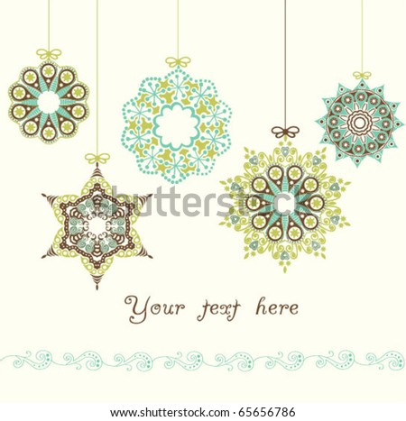 card with Christmas balls on white