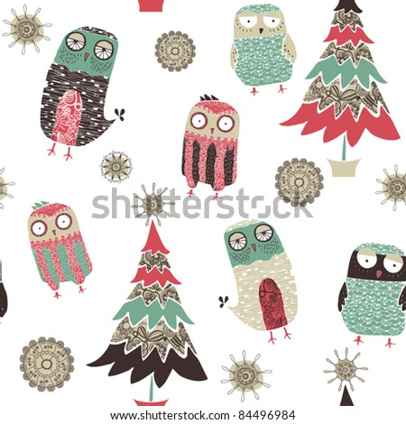 card with christmas tree and birds