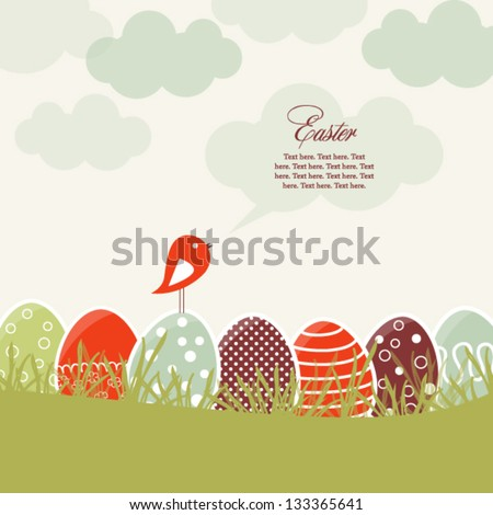 card with colorful easter eggs