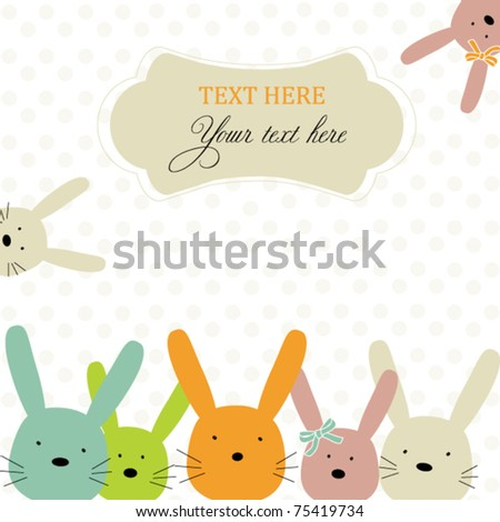 Card with colorful rabbits for life events