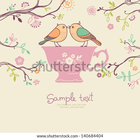 card with cup and birds coffee