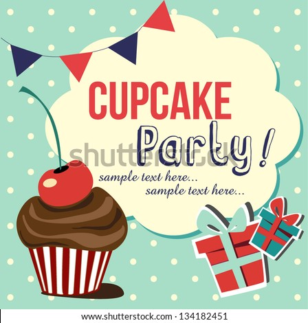 card with cup cake vector illustration