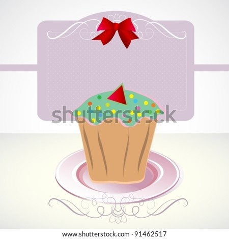Card with cupcake and bow, vector, eps10