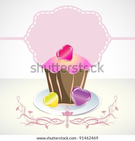 Card with cupcake and hearts, vector, eps10