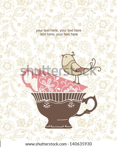 card with cups and bird