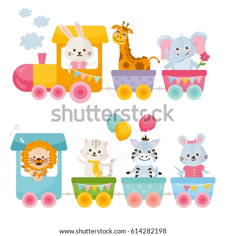 card with cute animals on train