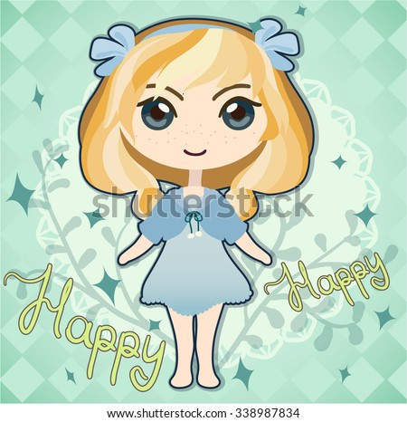 card with cute blond girl